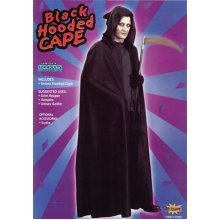 Black Adults Hooded Halloween Cape -  cape fancy dress halloween black hooded vampire costume
