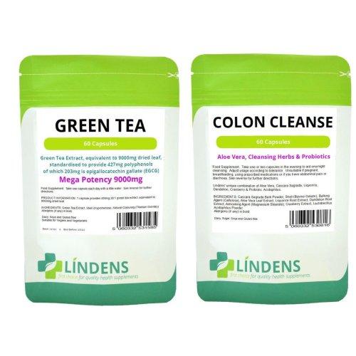 60 Green Tea Extract Huge 9000mg & 60 Detox Colon Cleanse Diet Slim Pills Fat