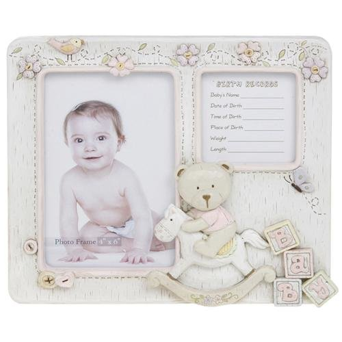 Baby Bear Girls Teddy Bear Photo Frame And Birth Record Cream On