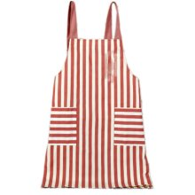 Japanese Style Cotton & linen Simple Cloth with Pocket Unisex Cooking Stripe Aprons, Red
