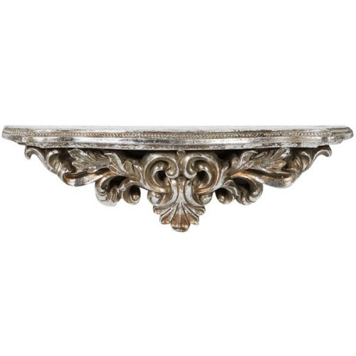 Resin Made Antiqued Silver Finish W45xdp12,5xh14 Cm Sized Shelf
