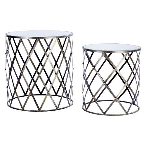 Avantis Tables Set Of 2 Mirror Top Diamond Design Metal Frame