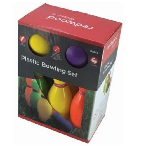 Redwood Leisure Plastic Outdoor Bowling Set Garden Games Outdoor Holiday Fun