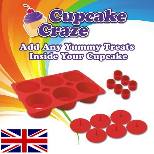 Puregadgets© Filled Silicone 6 Cupcake Making Kit with Filling Modules to fill your own cup cakes or Muffins Easy Clean Professional Baking Range