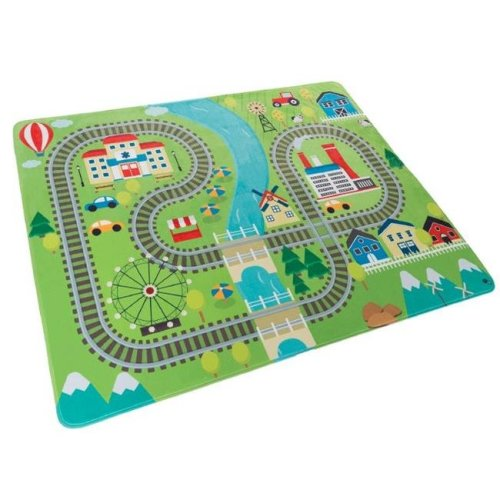 Hey Play 80-PM3 Microfiber Flannel Fleece & Foam Baby Mat with Non Slip Back & Train Scene for Toddlers, Boys & Girls