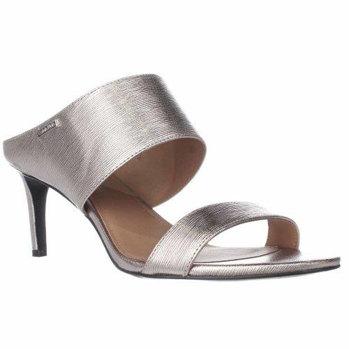 Calvin Klein Cecily Wide-Strap Mule Sandals, Soft Platinum, 6.5 UK