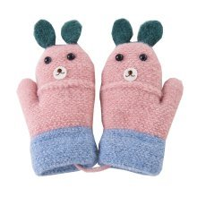 Kids Winter Warm Mittens with String Plush-lined Cartoon Gloves, #12
