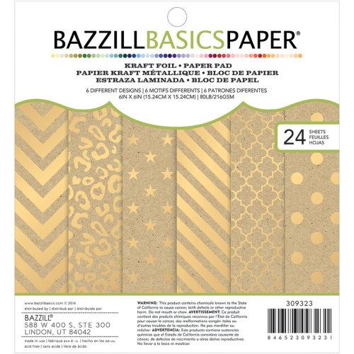 "Bazzill Basics Cardstock Pad 6""X6"" 24/Pkg-Kraft W/Gold Foil, 6 Designs/4 Each"