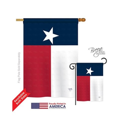 Breeze Decor 08230 States Texas State 2-Sided Vertical Impression House Flag - 28 x 40 in.