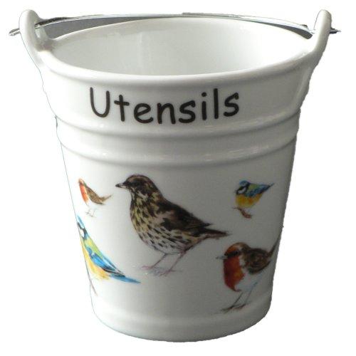 Birds pattern utensil holder. Fun bucket shaped ceramic utensil pot