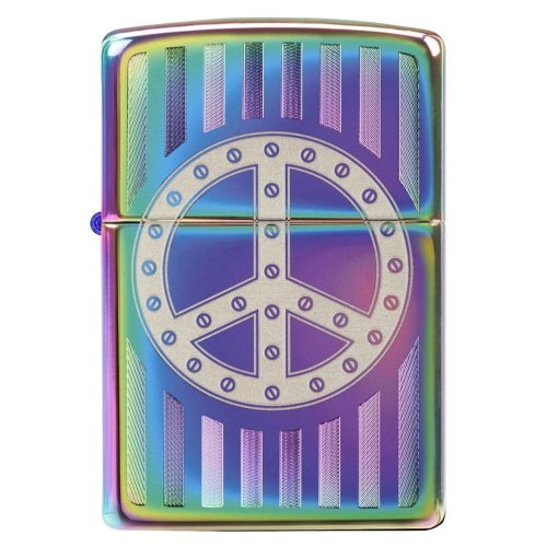 Rivet Peace Sign Spectrum Zippo Lighter