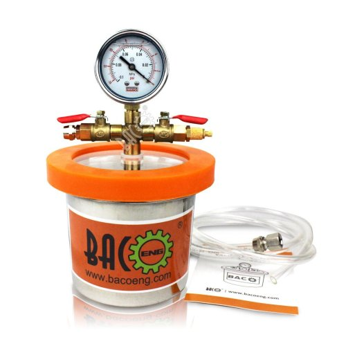 BACOENG Small Mini 1.2 L Vacuum Chamber Stainless Steel Degassing Urethanes Silicone Epoxies Lid Kit