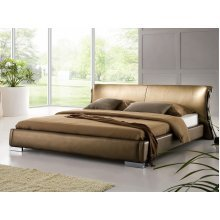 Super King Size - 6 ft - Leather Bed 180x200 cm - incl. stable slatted frame - PARIS Gold