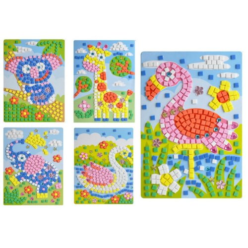 Rare Animals Crystal Sticky Mosaics for Kids Mosaic Painting, 5 Pics