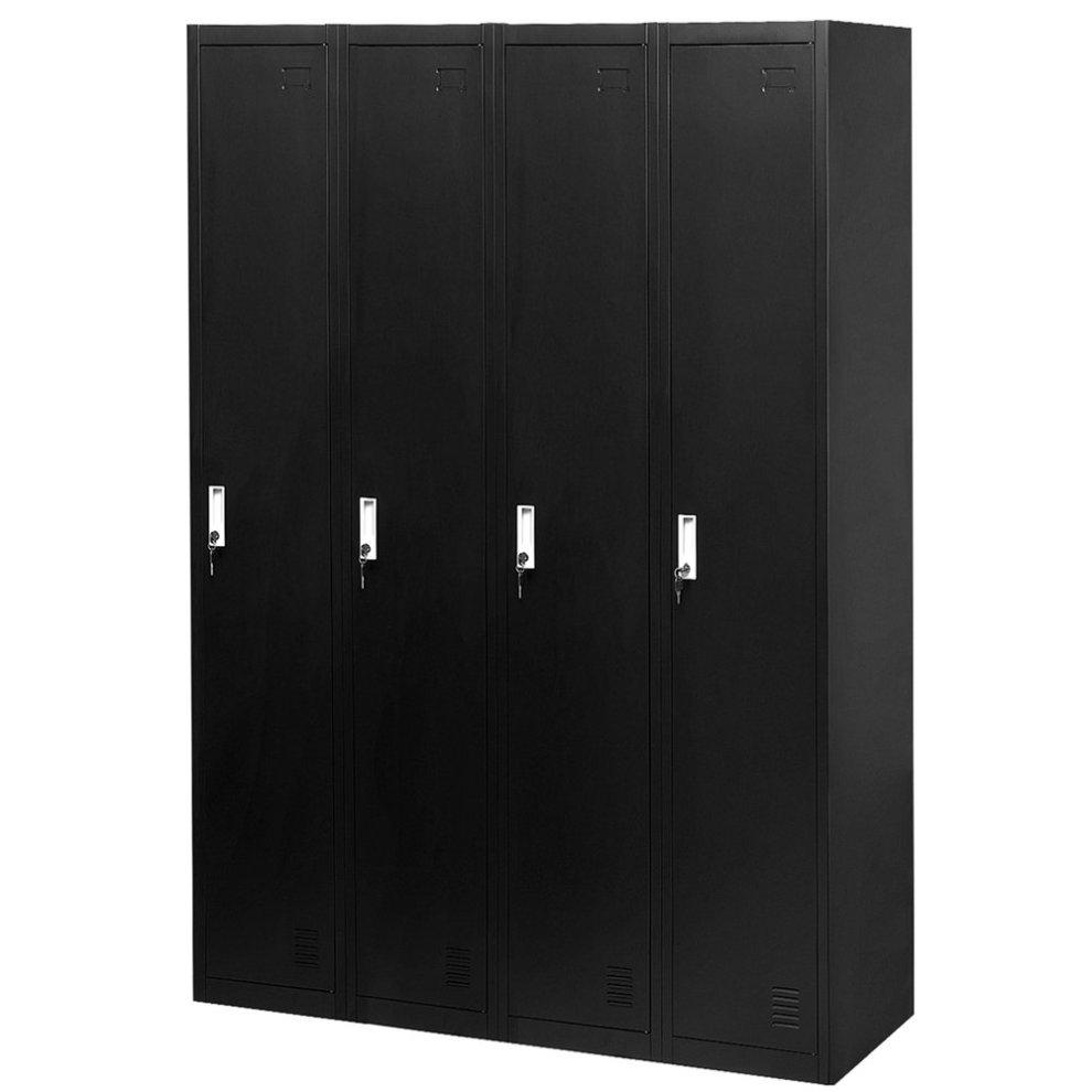 4 Door Metal Storage Cabinet Black Mamry