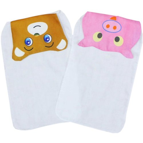 2 Lovely Bear/Pig Baby Cotton Gauze Towel Wipe Sweat Absorbent Cloth Mat Towels