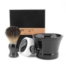 ZY Black Ceramic Shaving Soap Bowl Mug Cup Foaming Lather Pure Badger Hair Brush