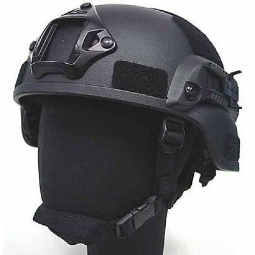 Airsoft Mich Helmet With Rails  Black Fibreglass Uk