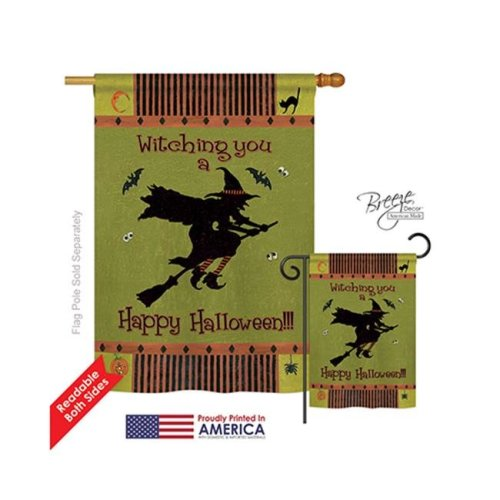 Breeze Decor 12053 Halloween Witching You 2-Sided Vertical Impression House Flag - 28 x 40 in.