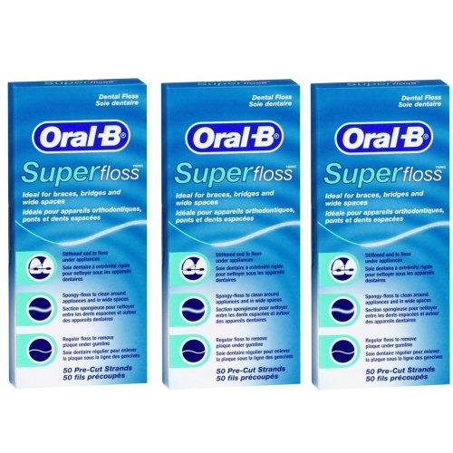 Oral B 50 Pieces Pre-Cut Super Floss - Pack of 3