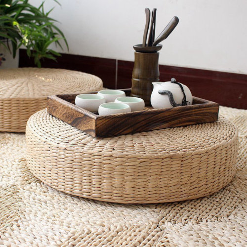 Natural Straw Pouffe 40cm | Round Wicker Cushion
