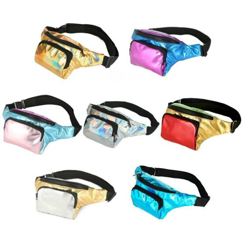 2 Zip Shiny Metallic Bum Bag Fanny Pack