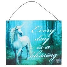 Anne Stokes Forest Unicorn Metal Wall Door Sign Plaque Every Day Is A Blessing Gothic Pagan Gifts Wiccan Fantasy