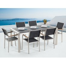 Outdoor Dining Set for 6 - Black Granite Top - Black Chairs - GROSSETO