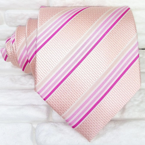 Luxury wide striped pink neck tie Made in Italy Jacquard