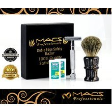 MACS PROFESSIONAL Safety Razors Set Include Shaving BrushWith 20 Derby BladesChrome Finish 4Inch Long Handle Rust Free and UnbreakableComplete Set2048