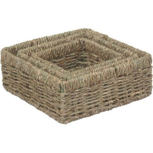Set of 3 Square Seagrass Trays