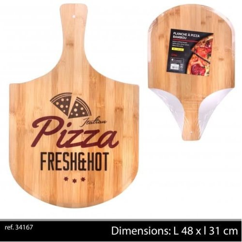 Bamboo Wooden  Pizza  Plate With Handle 48X30Cm