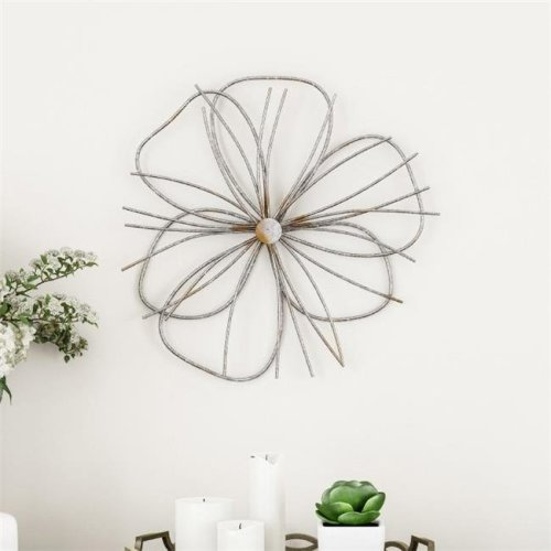 Lavish Home 80-WALLA-12 Metallic Wire Layer Flower Sculpture Contemporary Hanging Accent Art for Living Room Wall Decor - Silver & Gold
