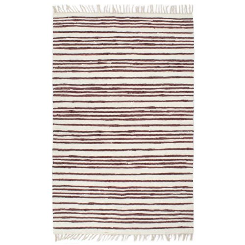 vidaXL Hand-woven Chindi Rug Cotton 200x290cm Burgundy and White Floor Carpet