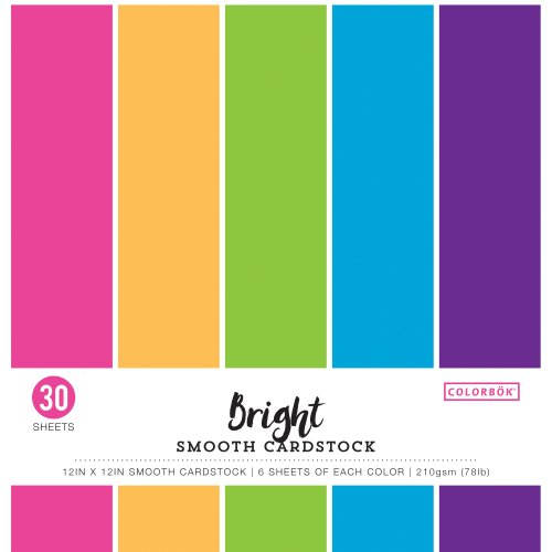 "Colorbok 78lb Smooth Cardstock 12""X12"" 30/Pkg-Bright, 5 Colors/6 Each"