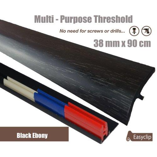 Black Ebony Multi Purpose Threshold Strip 38x90cm Adhesive Clip System