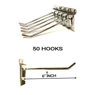 50X SLATWALL 6'' INCH SLAT BOARD HOOKS ACCESSORY SHOP RETAIL DISPLAY
