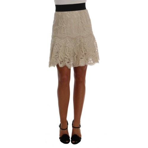 Dolce & Gabbana Beige Macramé Lace Skirt