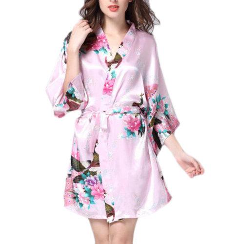 Charming Women Bathrobe Blossoms Peacock Kimono Silk Robes Gown-Pink