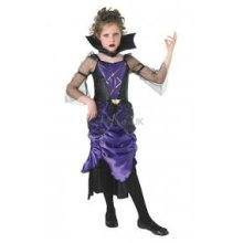 Extra Large Purple Girls Gothic Vampiress Costume -  vampiress gothic halloween costume kids fancy dress girls deluxe queen fairy witch zombie bride