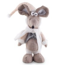 Miles the 45cm Free-standing Christmas Mouse Ornament with White Scarf