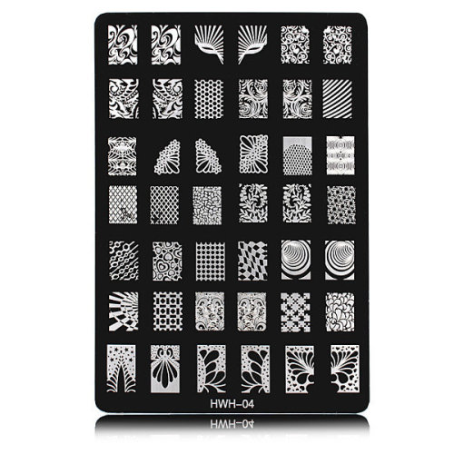 HWH-04 Nail Art Image Printing Steel Plate Polish Stamping Template DIY Tips Design