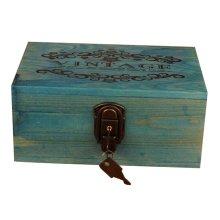Creative Woody Retro Safe Lock Box Desktop Cosmetics Box Jewelry Box-B/W