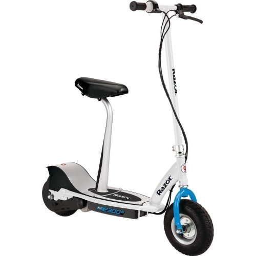Razor E300S Adults Junior 24V Electric Seated Ride On Scooter 15mph White & Blue
