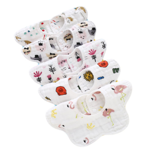 Set of 5 360° Rotatable Baby Soft Cotton Saliva Towels for Toddler and Kids