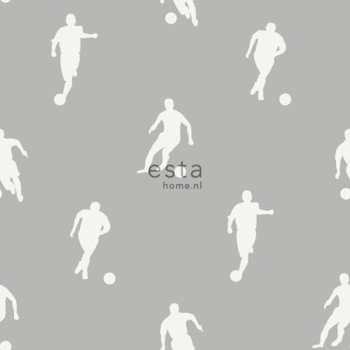 chalk printed non woven wallpaper football players taupe
