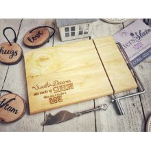 Engraved Cheese Slice Wire Wooden Cheese Gift - 23x15cm