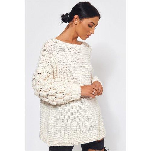 Alessa Chunky Knit Oversized White Jumper
