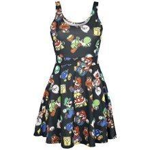 NINTENDO Super Mario Bros Female Characters and Icons Sleeveless Dress S - Black