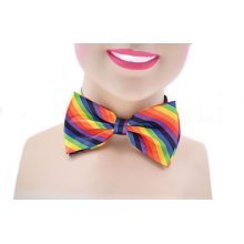 Rainbow Clown Dickie Bow Tie -  tie bow fancy dress clown rainbow accessory coloured costume pink party
